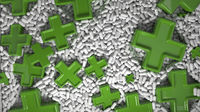 Heap of medicine tablets. Background made from pills or capsules in white color with medical signs in shape of green cross made by gold. 3d illustration