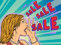 Sale pop art woman announcement