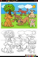cartoon happy dogs group coloring book page