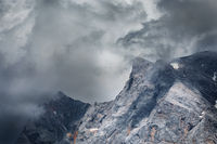 dramatic storm clouds over Zugspitze peak