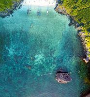 Incredible amazing aerial view of Nui Beach in Koh Phi Phi Don, Phi Phi Islands, Thailand