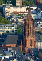 Aerial view over the Kaiserdom cathedral in Frankfurt