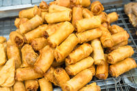 Hot fried snacks at asian street market