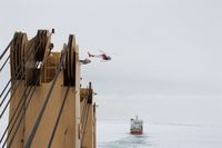 helicopter in the sea of antarctic