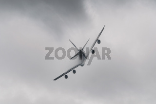 Airplane flying in bad weather