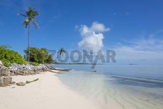 Palmenstrand der Malediveninsel Maradhoo im Addu Atoll, Palm beach of maldives Island Maradhoo, Addu Atoll
