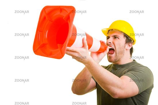 Warnung auf dem Bau
