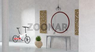 Hauseingang mit E-Bike, Tisch, Spiegel, Pflanze und Deko