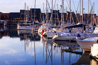 Boats in Deauville on a beautiful sunset