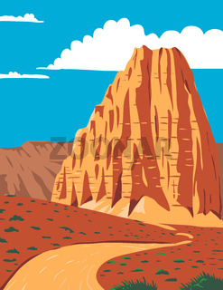 Cathedral Valley Loop in Capitol Reef National Park South-Central Utah United States WPA Poster Art Color