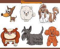 purebred cartoon dogs comic characters set