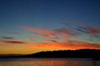 Beautiful fiery sunset. Lake Keret, Northern Karelia, Russia