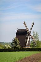 Blick auf eine gut erhaltene alte Bockwindmühle.
