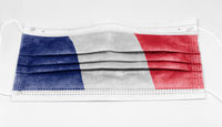 surgical mask with the national flag of France printed.