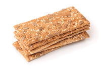 Stack of crispbread with sesame and sunflower seeds