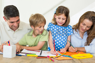 Family coloring at home