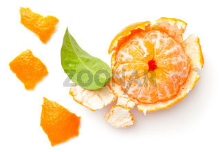 Peeled Mandarine Isolated On White Background