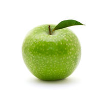 Ripe green apple isolated on white background. Health, food, vegan concept