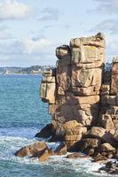 Cote de Granit Rose Rocks in the sea