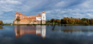 Travel belarus background - Medieval Mir castle famous landmark in town Mir