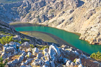 Zrmanja river karst canyon view, landscape of Dalmatia