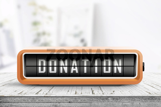 Donation message on a retro alarm clock