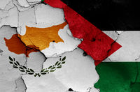 flags of Cyprus and Palestine painted on cracked wall