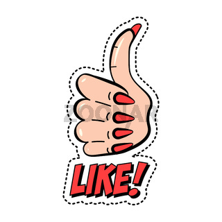 Like, colorful fashion sticker with thumb up and text, trendy patch badge, vector illustration.