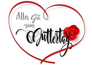 Grußkarte Alles Gute zum Muttertag mit roter Rose und Herz