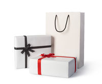 white paper bag and present paper box