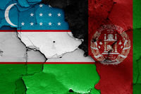 flags of Uzbekistan and Afghanistan painted on cracked wall