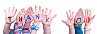 Children Hands Building Word Thank You, Isolated Background