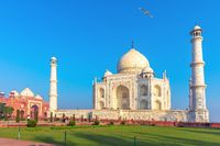 Taj Mahal complex, a famous UNESCO object in Agra, India