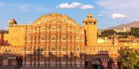Hawa Mahal in India, Jaipur, beautiful morning panorama