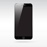 Modern touchscreen smartphone isolated on light background