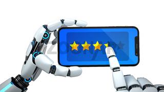 Humanoid Robot Hand Smartphone Rating