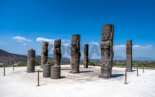 Toltec Warriors or Atlantes columns at Pyramid of Quetzalcoatl in Tula, Mexico