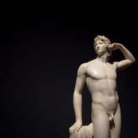 Apollo Crowing Himself - Antonio Canova's ancient sculpture in Italian Museum