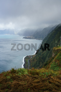 View of the sea cost and landscape of Madeira, Portugal