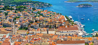 Hvar old historic center aerial view
