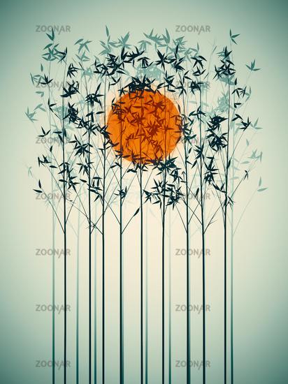 bamboo sunset graphic art background