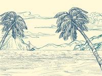 palm trees sea contour silhouette