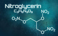 Chemical formula of Nitroglycerin on a futuristic background