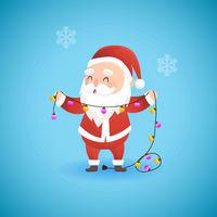 Festive Christmas funny Santa Claus holding lamp garland, vector illustration