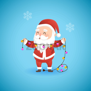 Festive Christmas funny Santa Claus holding lamp garland, vector illustration