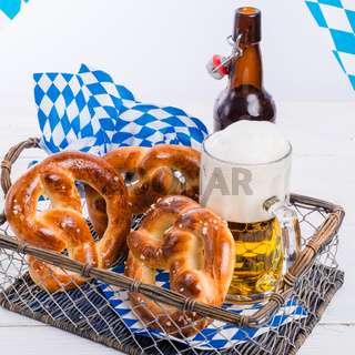 homemade pretzels and bavarian beer