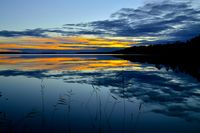 Romantic twilight. Lake Keret, Northern Karelia, Russia