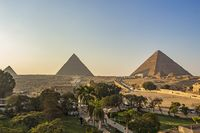 Giza Necropolis includes the Great Pyramid of Giza, the Pyramid of Khafre, and the Pyramid of Menkaure