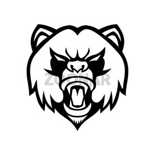 Angry Giant Panda Head Front Mascot Black and White