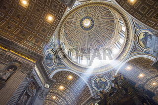 The interior of the Dome of St Peter`s Basilica